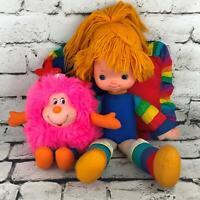 Vintage 80's Rainbow Brite Doll With Pink Sprite And Pillow Mattel Hallmark Flaw