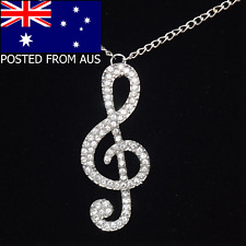 Silver Treble Clef Necklace Pendant ~ Long Chain ~ Musical Note Rhinestone