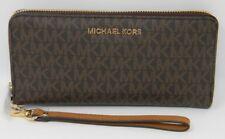 New Michael Kors Jet Set Travel MK Signature Brown Zip Continental Wallet $188