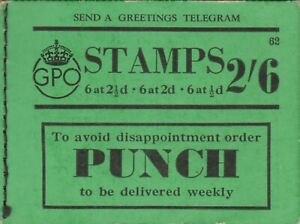 GEORGE VI BD15 62 2/6 PART BOOKLET VERY FINE. A FEW STAMPS