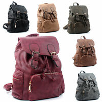 Ladies Faux Leather Rucksack College Bag Womens School Travel Backpack Handbag