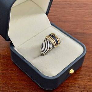 VINTAGE DAVID YURMAN STERLING SILVER 14K GOLD AMETHYST CABLE DOME RING SIZE 7.25