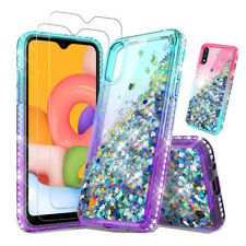 For Samsung Galaxy A01 Case Liquid Quicksand Hard Cover+Tempered Glass Protector