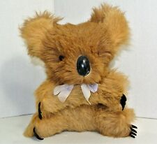 Vintage Stuffed Koala Bear Real Fur Hard Body Glass Eyes Lavender Bow Adorable
