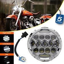 "7"" inch Round Chrome LED Headlight DRL Hi-Lo Beam for Harley Davidson Motorcycle"