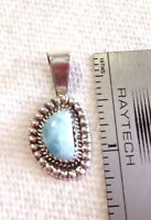 """small round oval circle 1+"""" Larimar Pendant Navajo Boyd Sterling Silver USA"""