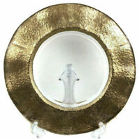 Glass Gold Ruffled Rim Charger Plate Platter 13 1/2