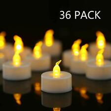36-Pack Flamele LED Tea Light Candles in Warm Yellow Flickering Battery Operated