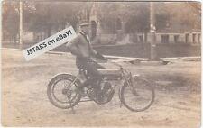 circa 1909 CURTISS MOTORCYCLE POSTCARD, VINTAGE PHOTOGRAPH RPPC