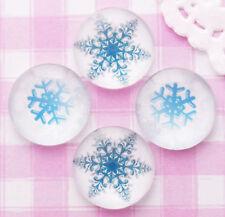 6 X Noël Flocon de neige en verre ronde cabochon embellissement Kawaii Decoden-RU
