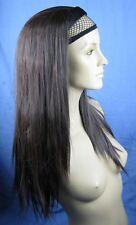 dark brown straight half head long hair wig headband hair piece fancy dress