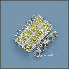 Fine Sterling Silver 5 Strand Rectangle Box Clasp with CZ Peridot #51471