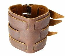 Brown Leather Wide Triple Strap Cuff Wrap Gothic Wristband Buckle Fastening