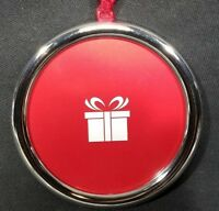 "Christmas Tree Photo Picture Frame Ornament Hanger Chrome Elegant Round 3"" x 3"""