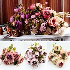 Artificial Bouquet 10 Head Peony Silk Flower Fake Leaf Home Wedding Party Decor