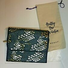 Monat Hair Hanging Toiletry Cosmetic Travel Bag - Blue & Gold -