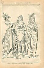Costume Femme Merveilleuses Révolution Directoire GRAVURE ANTIQUE OLD PRINT 1873