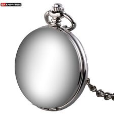 Classic Silver Smooth Retro Mechanical Stainless Pocket Watch Chain Antique Gift