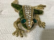 Clothes Pin/Broach/Pendant (3.5� X 2.0�) Green & Gold Jeweled Frog