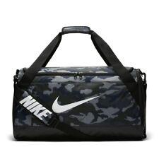 Nike Brasilia Camo Grey Black Travel Training Duffel Gym Sports Bag 61 Litres