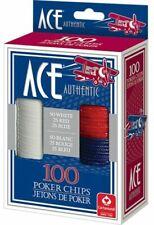 Ace Authentic 100 Poker Chips Cartamundi White Red Blue 7 Boys Girls Adults