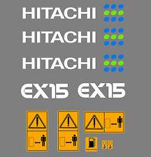 HITACHI EX15 MINI BAGGER AUFKLEBER SATZ MIT SICHERHEIT-WARNZEICHEN