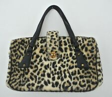 3cd08752ee vtg ANIMAL PRINT Faux fur handbag Multi compartment satchel tote