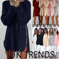 UK Womens Long Sleeve Pullover Sweater Ladies Side Zip Jumper Dress Knit Top