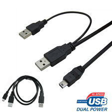 USB DUAL POWER Y SHAPE 2 x TYPE A TO MINI B CABLE LEAD FOR PORTABLE HARD DRIVE