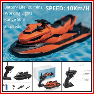 2.4G Mini RC Jet Ski Radio Remote Control Boat Black Orange Speedboat Water Toy