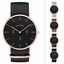 Damenuhr Schwarz Rosegold Herrenuhr Damen Uhr Armbanduhr Rose Gold Nylonarmband