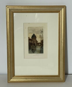 Antique French Colour Etching - Signed (picture, landscape, drawing, painting)