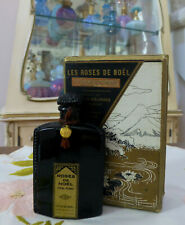 Antique 1920s BLACK GLASS Lotus de Noel Parfumerie LES ROSES DE NOEL Extrait NIB