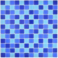 Mosaik Fliese Transluzent blau quadratisch Glasmosaik Crystal WB63-0405 |1 Matte