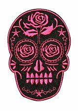Candy Sugar Skull With Rose Embroidered Iron On Badge Applique Patch