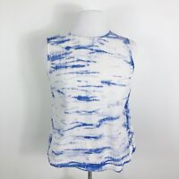 Equipment Femme Silk Top Back Button Blue White Tie Dye Sleeveless Shirt Size XS