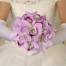Fake Orchids 12-Head Silk Flowers Wedding Bridal Bridemaid Foral Bouquet