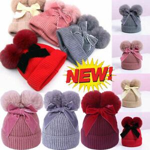Double Pompom Baby Toddler Girls Hat Winter Beanie Cap Thicken Warm Skullies