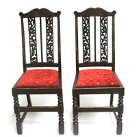 Pair of Antique Beech Pierced Slat Back Chairs [6833]