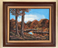 Large Impressionist Oil Painting signed BT ROBINSON Autumn Woods Framed 26 x 22