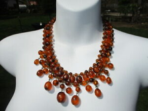 #357- MID CENTURY FAUX AMBER TORTOISE SHELL LUCITE FESTOON BEAD NECKLACE
