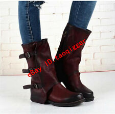 Women Retro Oxfords Ghic Leather Motorcycle Ankle Cowboy Boot Buckle Riding Shoe