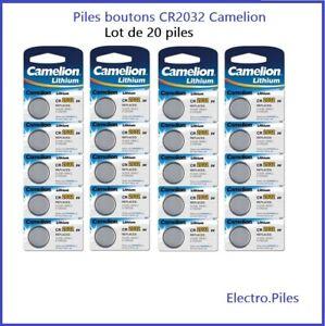 Lot de 20 Piles Cells boutons CR2032 3V lithium de marque Camelion