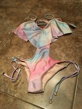 Wildfox Couture Fairy Hologram Cut Out Monokini Swimsuit Bathing XS NWT (111)