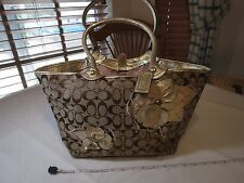 Coach Bleeker Floral Gold Khaki Signature Applique Tote Handbag F16276 purse GUC