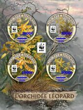 More details for togo flowers stamps 2020 mnh leopard orchid wwf orchids blue ovpt 4v m/s