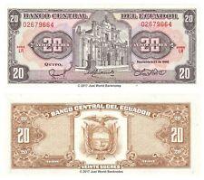Ecuador 20 Sucres 1988 P-121A Banknotes UNC