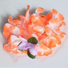 Premium Orange Hawaiian Crown Lei Headband Paradise Petunia with Orchids Boho
