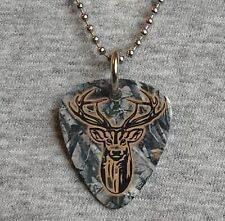 Metal Guitar Pick Necklace DEER hunter hunting camouflage camo pendant 2-sided