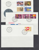 Switzerland Mi 1116/1141, 1978  issues, 3 cplt sets on 3 cacheted official FDCs